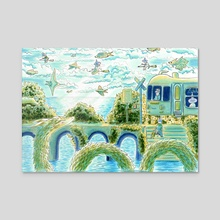 Magical Boat: Right Panel - Acrylic by Sophy Mariam