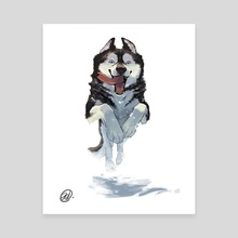 Dog Series - Husky - Canvas by Elisa Kwon