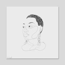 Nygua (Single Line Drawing) - Acrylic by Trae Tay
