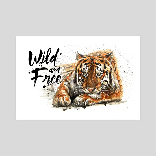 Tiger Wild and Free watercolor by Konstantin Kalinin