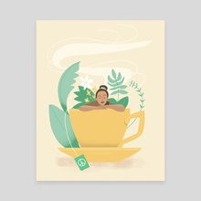 Peaceful Tea - Canvas by Jenny Caldwell