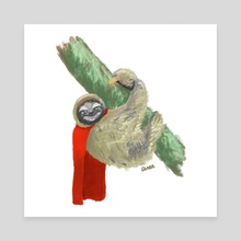 Sloth Wearing a Red Cape  - Canvas by Kevin Durr