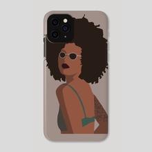 Tattooed afro girl - Phone Case by Ryohei Kaneko