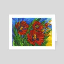 Red Poppies. Watercolor. - Art Card by Tatiana Rusanovska