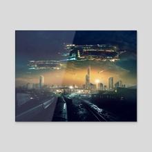 Future urban cityscape - Acrylic by Zhovba Pavel