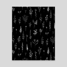 Wildflowers black - Canvas by Anis Illustration