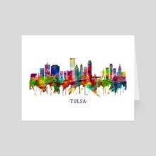 Tulsa Oklahoma Skyline - Art Card by Towseef Dar