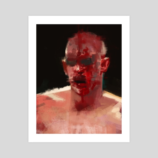 Boxing man with blood painting by Christian Muller