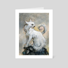 white cat - Art Card by yukari masuike