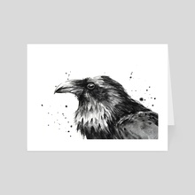 Raven Watercolor - Art Card by Olga Shvartsur