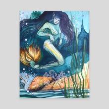 Yellowtail Mermaid  - Canvas by Natasha Feliciano