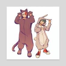 Kigurumi Todoroki and Deku - Canvas by fenkko