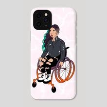 Cool Girl In A Wheelchair (White Ocean) - Phone Case by Menah M