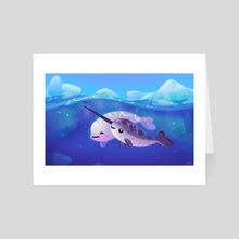 Beluga and Narwhal - Art Card by pikaole