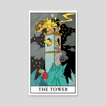 The Tower - The Modern Witch Tarot - Acrylic by Lisa Sterle