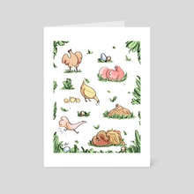 Spring Chickens - Art Card by Emma Oosterhous