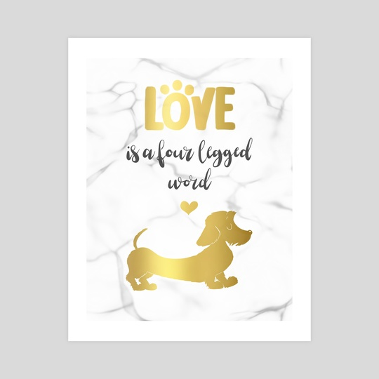 Wire hair Dachshund gold by Laura R