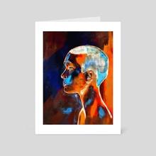 Orange on blue - Art Card by Carlos Miguel  Rincón Jaramillo