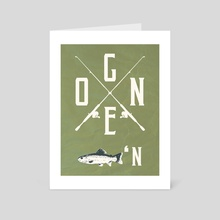 Gone Fishing (green) - Art Card by StrangeFrontierArt