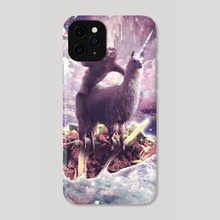 Space Sloth Riding Llama Unicorn - Pizza & Taco - Phone Case by Random Galaxy