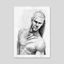 Man in the shade of palm - Acrylic by Krzysztof Wielkopolski