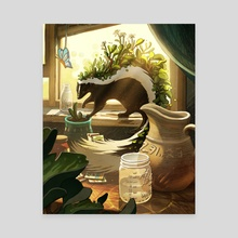 Garden Skunk - Canvas by Bridget Underwood