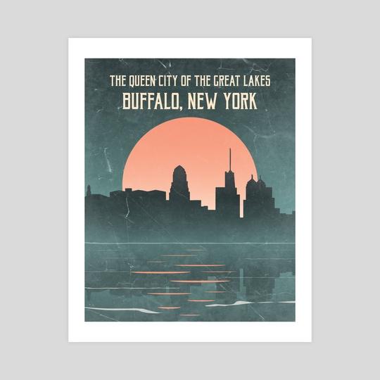 Buffalo Nights (Skyline) by StrangeFrontierArt
