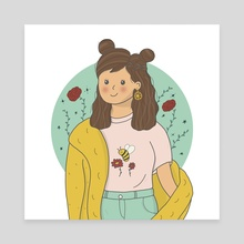 Girl portrait - Canvas by ToastAndToons by Purva Chawan