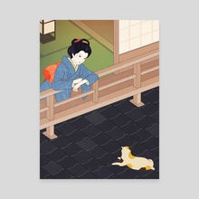 Cat on the tiled roof - Canvas by Sai Tamiya