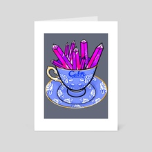 Calm teacup and crystals - Art Card by Kimberly Brumble