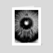 Man's silhouette with rays of light. Soul or Aura - Art Card by Bruce Rolff