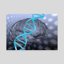 DNA strand and brain - Canvas by Bruce Rolff