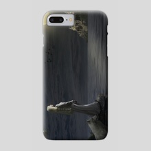 A girl and her white wolf in the moonlight - Phone Case by Dejan Travica