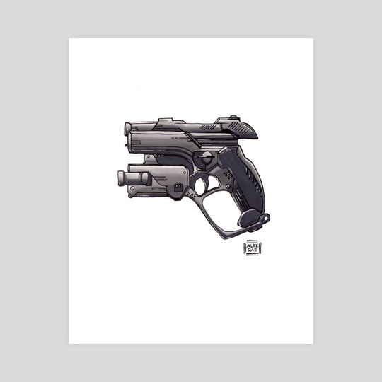 Monochromatic gun by Alex Rae Illustration