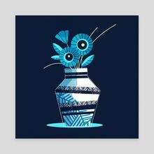 Blue Flowers Print - Canvas by Ffion Evans