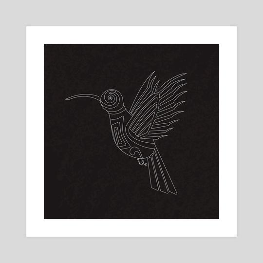 Abstract Tatto Hummingbird by Olha Hordynska