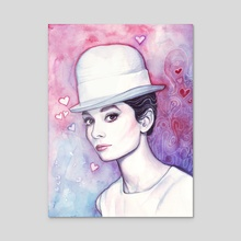 Audrey Hepburn Fashion Watercolor - Acrylic by Olga Shvartsur