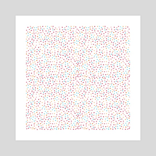 Watercolor abstract seamless pattern background with yellow, blue and pink dots on white by Ekaterina Ivanova