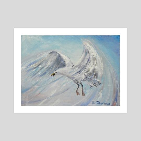 Free flight of the white gull. by Elena Reutova