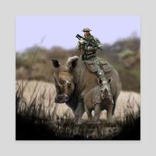 Black Rhino Protection - Canvas by Joe Sullivan