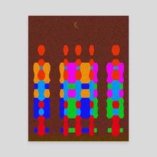Midnight Queue (Geometric Texture) - Canvas by Vidka Art