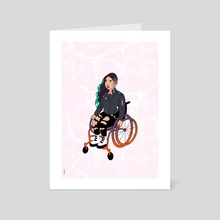 Cool Girl In A Wheelchair (White Ocean) - Art Card by Menah M