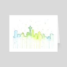 Seattle Skyline Silhouette - Art Card by Olga Shvartsur