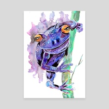 Purple Frog - Canvas by Sebastian Grafmann