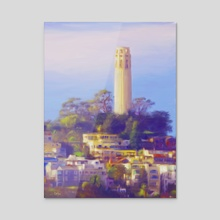 Coit Tower - Acrylic by Tom Carlos