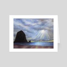 Haystack Rock at Sunset Painting - Art Card by Melissa Kelley