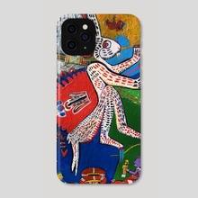 Aztec White Rabbit - Phone Case by Juan Francisco Herrera