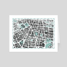 Map of Berlin Prenzlauer Berg (color option 1) - Art Card by Tanya Shyika