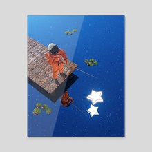 Star Fishing - Acrylic by Jayant Sikka