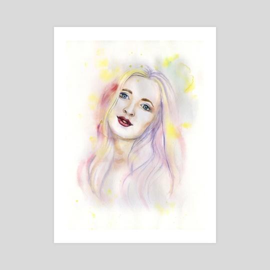 Watercolour portrait of beautiful girl by Mary Yan
